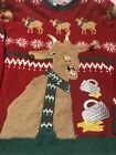 Jolly Sweaters Ugly Christmas Sweater Size 2XL Red Reindeer Green EUC