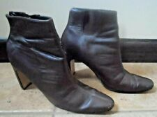 """Together ankle boots brown leather 3 1/2"""" heel 6 1/2 back zipper"""