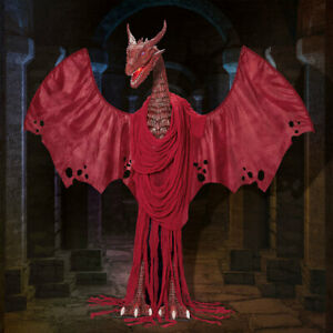 Halloween 6ft 7in Animated Crimson Dragon With LED Lights and Sound, Red