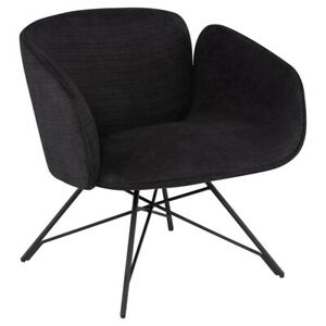 "27.3"" W Alister Occasional Chair Steel Swivel Base Contemporary Black Fabric"
