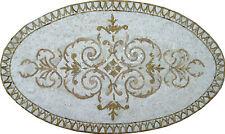 Oval Beige Border Artistic Marble Mosaic Geo1102