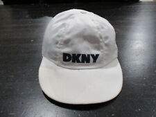 VINTAGE DKNY Stretch Fit Hat Cap White Blue Spell Out Donna Karan Mens 90s   ed97c2e01b53