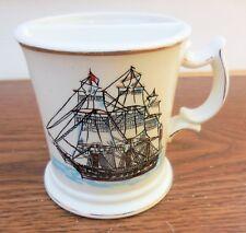 Vintage 1940's Enesco Japan Tall Ship Mustache Cup Porcelain Shaving Mug (VGUC)