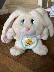 Vintage Lost N Founds Bunny Plush With Bib Sad Eyes Galoob 1989