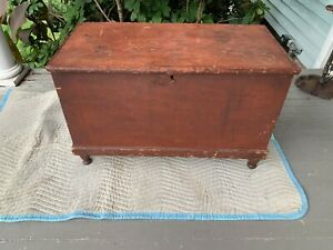 Antique, Dovetailed Pine Red Painted Blanket Chest, Easton Pennsylvania, c. 1825