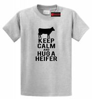 Keep Calm Hug Heifer Funny T Shirt Country Cow Lover Graphic Tee Shirt