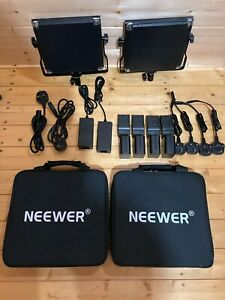 Neewer 2-Pack Bi-color 660 LED Video Light Barndoor Power Cables 4x Battery Case