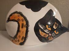 Decorative Ceramic Tabby Calico Cat Planter Vase Unique Home Decor