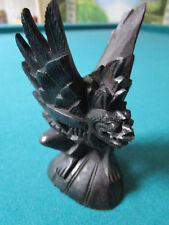 """CHINESE GARGOYLE WOODEN CARVING BLACK IN CURIO BOX  4 1/2"""""""