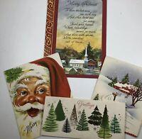 Vtg Christmas Cards 50's Santa Bible Snowy Barn Trees Slim Prim Americard Unused