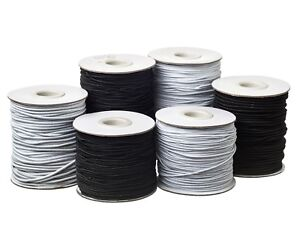 Round Hat Elastic Cord 1mm 2mm 3mm Black or White for Beading, Crafts, Hats