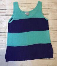 JC Penny Women's Size Large Linen Blend Sleeveless Sweater Blue Striped