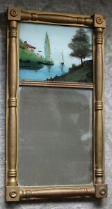 c1890 ANTIQUE Mirror FEDERAL STYLE Reverse PainTing on Glass SAILBOAT