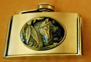 HIP FLASK BELT BUCKLE'S FOR A Sneaky TIPPLE !  HORSE & INDIAN FEATHER HIP FLASK