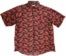 Whitby Silk Mens Short Sleeve Button Front Shirt Red Dragon Size: Large