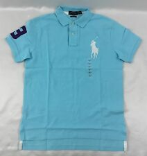 Ralph Lauren Men Custom Fit Polo Shirt Number 3 Patch Hamm Blue Size S