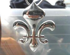 NEW !  Large .925 Sterling Silver Fleur-De-Lis Pendant - Free Shipping !