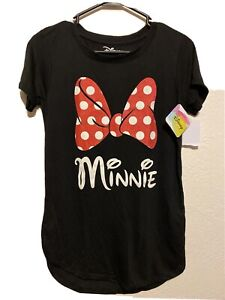 NWTs Disney Minnie Mouse Women's Pajama Top T-Shirt Black Size XL 15/17 NEW