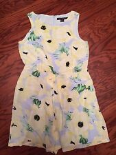 Cute New French Connection Women's Floral 100% Silk Jumpsuit / Dress  Lined Sz10