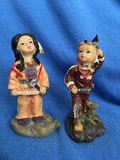 Native American Indian Children Figurines Boy & Girl Tribe Western Plains Nomad