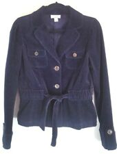 Ann Taylor LOFT Womens Size 6 Jacket Navy Blue Cinched Drawstring Waist Collar