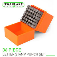 """36pc 1/4"""" Number & Capital Letter Stamp Punch Set Metal Plastic Wood Leather"""