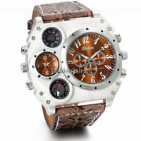 Hot Mens Luxury Quartz Sport Military Stainless Steel Leather Band Wrist Watch