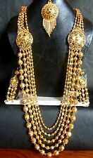 Indian 1 gm Gold Plated Ball Bead Necklace Jhumka Earrings jewelry Set Fast Ship
