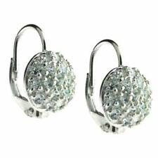Leverback Cubic Zirconia Sterling Silver Fine Earrings