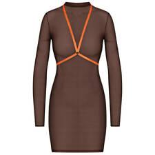 Maison Close Transparent Dress S Chokolat + Harness Neon Orange Corps A Corps