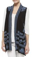 ❤️NWT! Beautiful Johnny Was JWLA Asymmetric Embroidered Linen Vest size S $258❤️