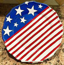 Americana Stars & Stripes Red White Blue Melamine Dinner Plates Set ~ Set of 3