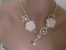 Collier Original Blanc cassé/Ivoire/Argenté robe de Mariée/Soirée perles Fleur