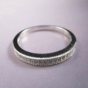 STERLING SILVER Romanic styled Eternity Band 21 stones CZ Ring Size 5, 6, 7, 8