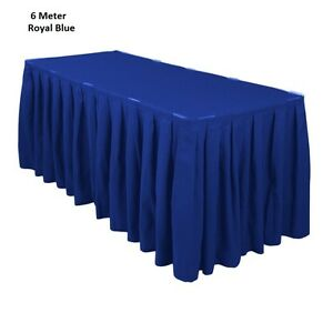 6 Meter Royal Blue Polyester Table Skirting Skirt Table Cloth Wedding Events