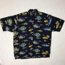 Nautica Men's Large Blue Short Sleeve Button Up Hawaiian Fish Print Shirt