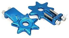"""BMX bicycle star spur chain tensioner for 3/8"""" axles (PAIR) BLUE"""