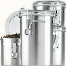 Canister Set 4 Piece Stainless Steel Kitchen Storage Coffee Sugar Tea Flour Lids