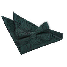 Emerald Green Mens Pre-Tied Bow Tie Hanky Set Woven Floral Paisley by DQT