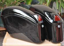 Black Hard Saddle bag Case Trunk Fit Yamaha Cruisers with Light&Brackets FY