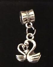 Love Swans 2-sided Tibetan Silver European Charm For European Bracelets