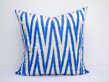 Blue Silk ikat pillowcase Blue pillow Uzbek chevron ikat pillow in California