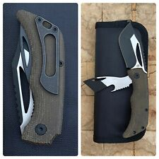 Koch Tools KTC-2 Green Canvas Micarta 2 Blades BottleOpener PryBar Pocket Knife