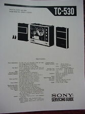 SONY TC-530 TAPE RECORDER SERVICING GUIDE 32 Pages