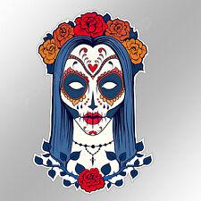 sugar skull girl gothic pagan female blue funny car bumper sticker 90 x 138 mm