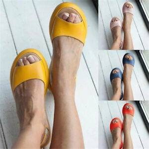 Womens Slingback Sandals Ladies Fashion Peep Toe Casual Slippers Flat Shoes Size