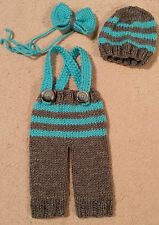 Baby boy hat, bow tie, and pants with suspenders set