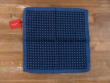 ALTEA Milano blue polka dots motif wool silk mix pocket square authentic - NWT
