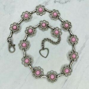 Silver Tone Pink Cabochon Flower Concho Belly Body Chain Link Belt Size XS