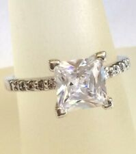 Silver Princess Cut Engagement Cocktail Ring Size 10 Cubic Zirconia Plated